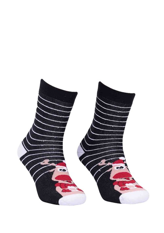 SARA DONNA - Çizgili Geyikli Siyah Çorap 952 | Siyah