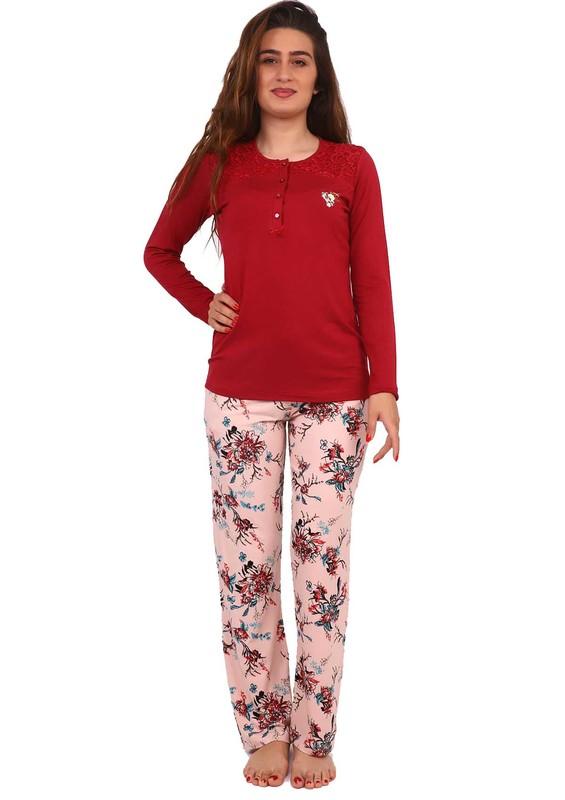SENFONİ - Senfoni Yakası Güpürlü Düğmeli Çiçek Desenli Pijama Takımı 1483 | Bordo