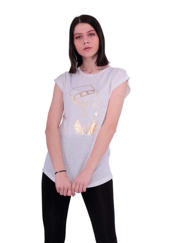 EMOLA - Yuvarlak Yakalı Baskılı T-Shirt 102 | Krem