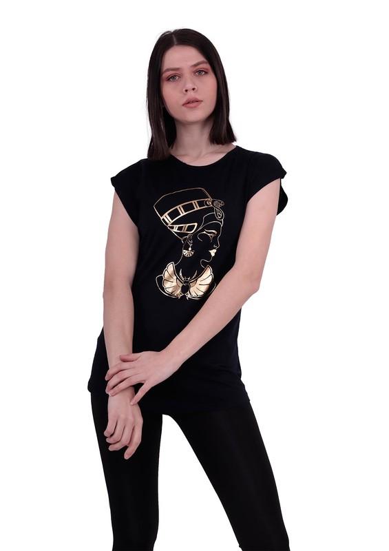 EMOLA - Sıfır Kollu Yuvarlak Yakalı Baskılı T-Shirt 102 | Siyah