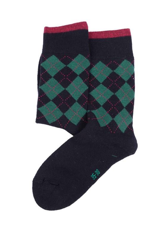 SİMİSSO - Simisso Baklava Desenli Havlu Çorap | Siyah