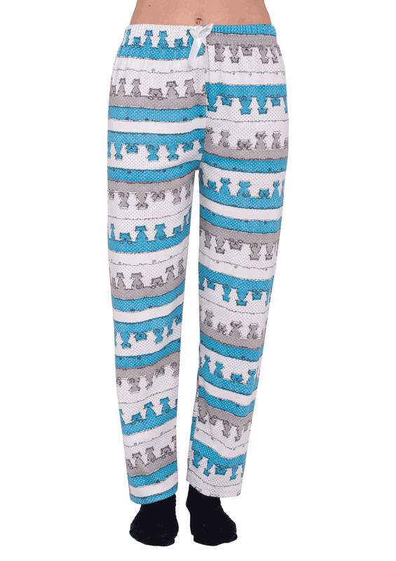 SİMİSSO - Simisso Boru Paça Çizgi Karakter Desenli Renkli Pijama Altı 355   Mavi