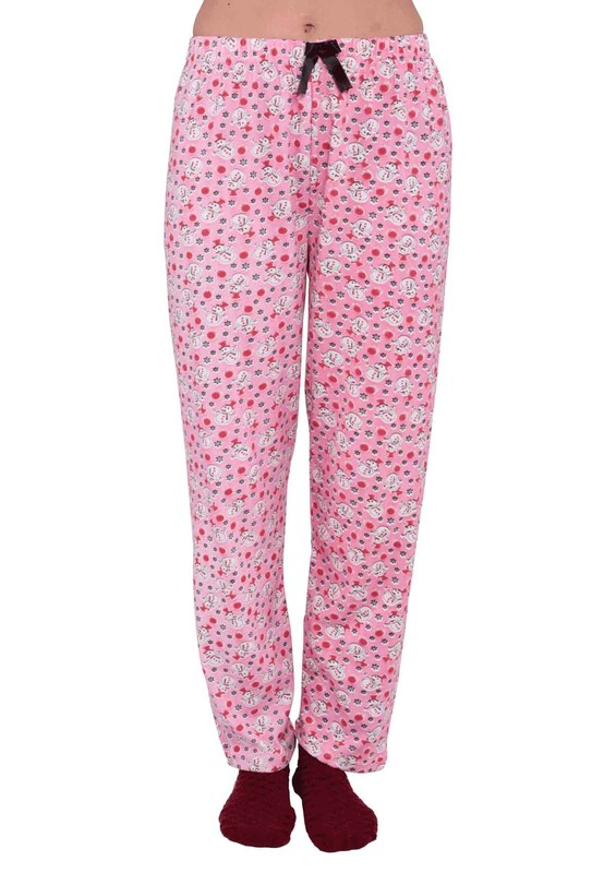 SİMİSSO - Simisso Boru Paça Kardan Adam Desenli Pembe Pijama Altı 455   Pembe