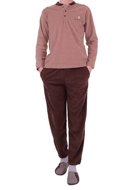 SİMİSSO - Simisso Boru Paçalı Polar Pijama Takımı 01 | Kahverengi