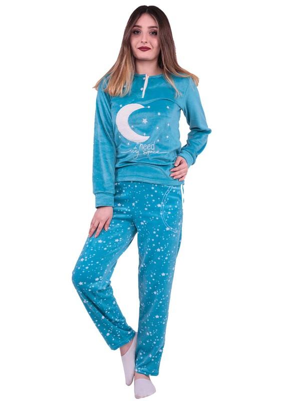 SİMİSSO - Simisso Boru Paçalı Yıldız Desenli Polar Pijama Takımı 2214 | Petrol