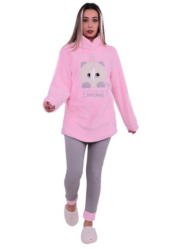 SİMİSSO - Simisso Desenli Polar Pijama Takımı 2601 | Pembe