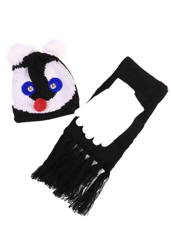 SİMİSSO - Simisso Desenli Ponpon Kulaklı Bere Takımı 1005 | Siyah