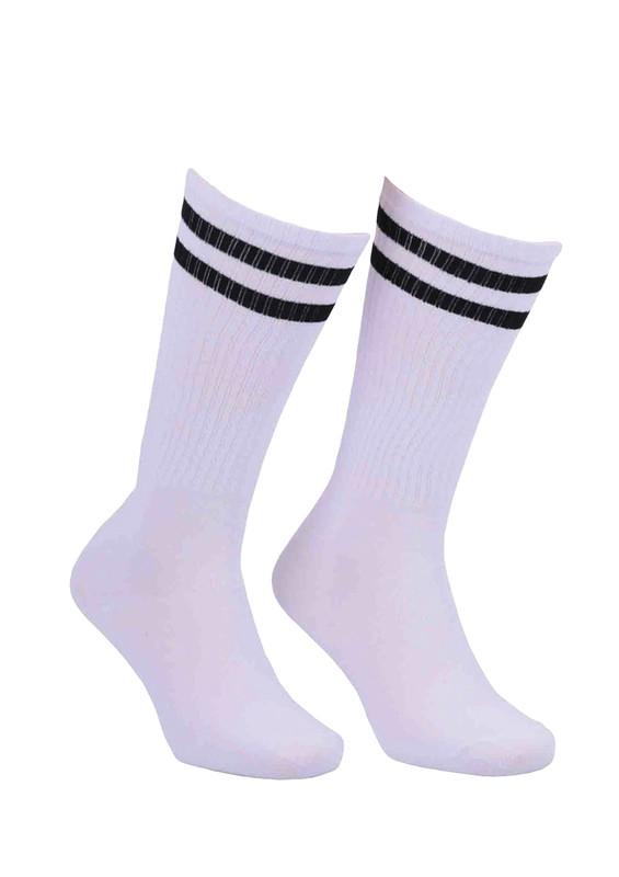 SİMİSSO - Simisso Farklı Renk Seçenekli Boğazı Desenli Likralı Çorap 040 | Beyaz