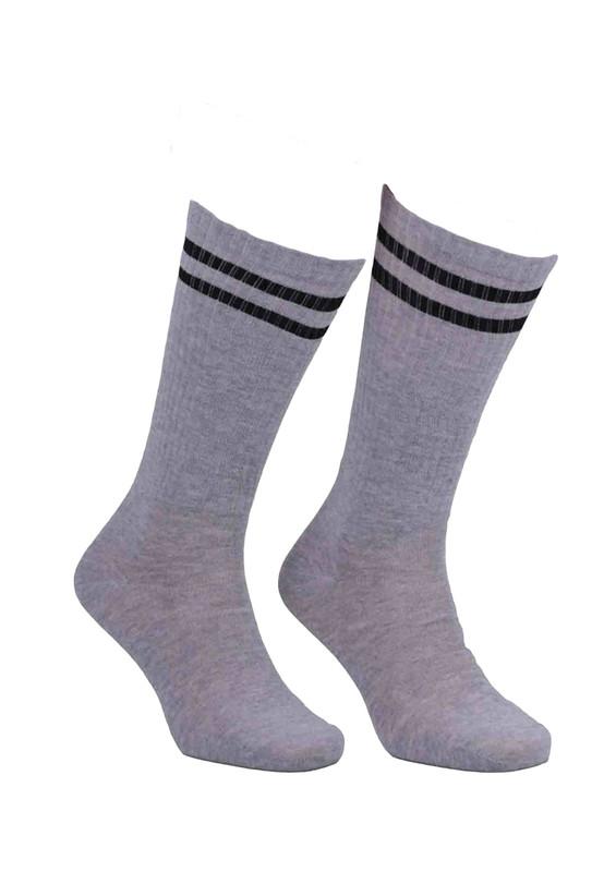 SİMİSSO - Simisso Farklı Renk Seçenekli Boğazı Desenli Likralı Çorap 040 | Gri