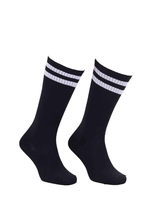 SİMİSSO - Simisso Farklı Renk Seçenekli Boğazı Desenli Likralı Çorap 040 | Siyah