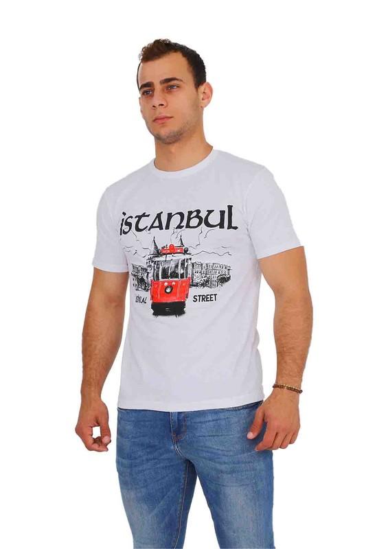 SİMİSSO - Simisso İstanbul Yazılı Yuvarlak Yaka T-Shirt | Beyaz