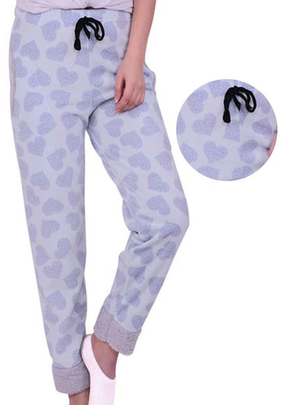 SİMİSSO - Simisso Kalp Desenli Polar Pijama Altı 882 | Mavi