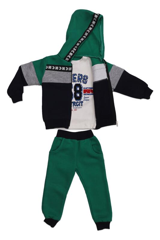 SİMİSSO - Simisso Kapşonlu Çocuk Eşofman Takımı 3 ′ lü 6531 | Yeşil