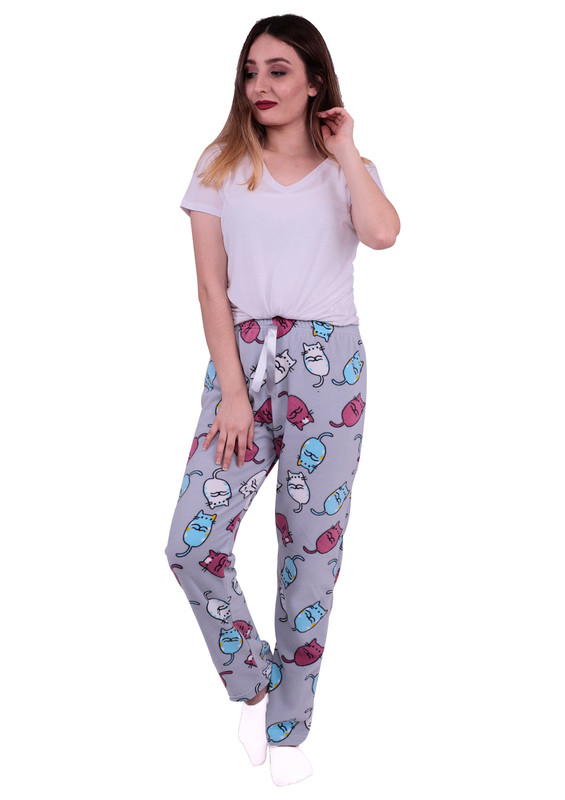 SİMİSSO - Simisso Kedi Desenli Polar Pijama Altı 538 | Gri