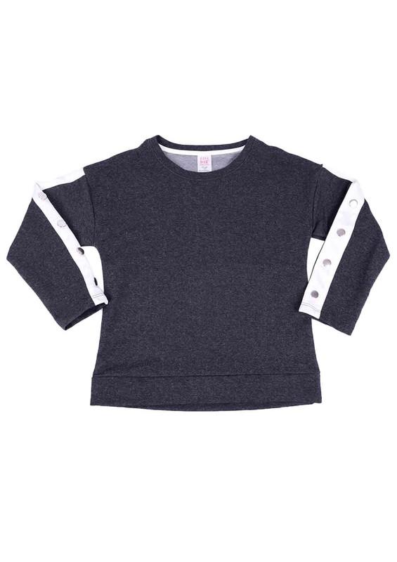 SİMİSSO - Simisso Kolları Şeritli Çocuk Sweat 310 | Füme