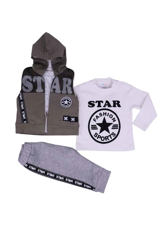 SİMİSSO - Simisso Star Yazılı Bebek Takımı 3 ' lü 6060 | Yeşil