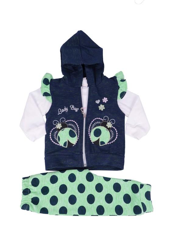 SİMİSSO - Simisso Uğur Böceği Nakışlı 3 ' lü Bebek Takımı 1160 | Yeşil