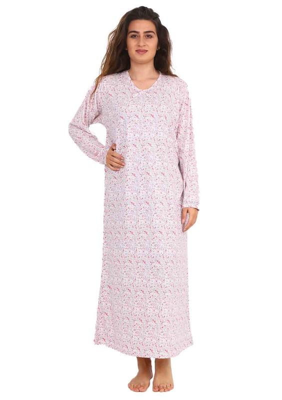 SİMİSSO - Simisso V Yakalı Çiçek Desenli Uzun Penye Elbise 084 | Krem