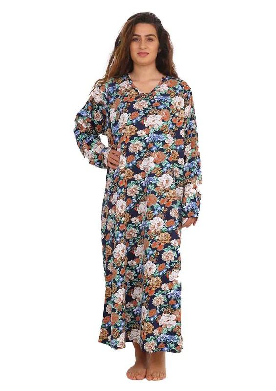 SİMİSSO - Simisso V Yakalı Çiçek Desenli Uzun Penye Elbise 084 | Lacivert