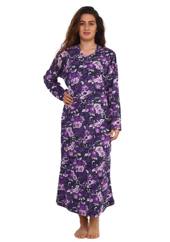 SİMİSSO - Simisso V Yakalı Çiçek Desenli Uzun Penye Elbise 084 | Lacivert Mor