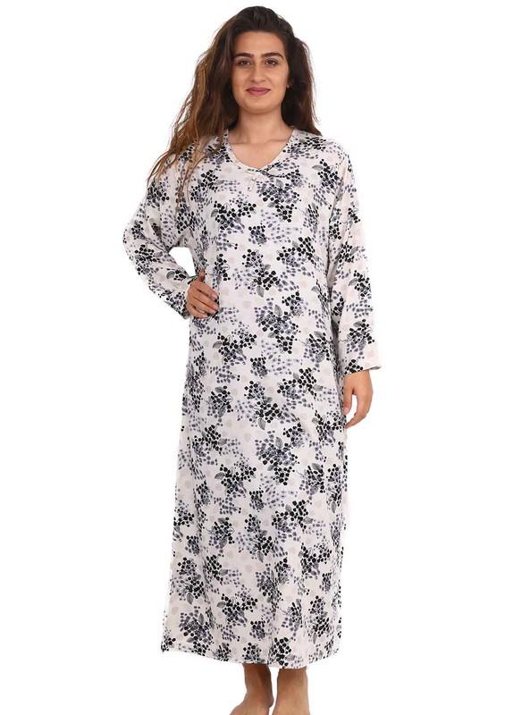 SİMİSSO - Simisso Yuvarlak Yakalı Çiçek Desenli Elbise 082   Gri