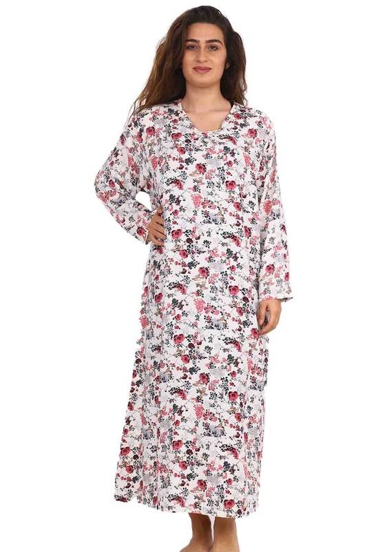 SİMİSSO - Simisso Yuvarlak Yakalı Çiçek Desenli Elbise 082   Krem