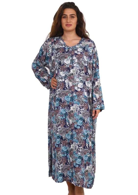 SİMİSSO - Simisso Yuvarlak Yakalı Çiçek Desenli Elbise 082   Yeşil