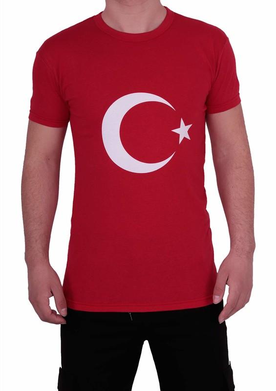 SİMİSSO - Simisso Yuvarlak Yakalı Kısa Kollu Türk Bayrağı T-Shirt 325   Kırmızı