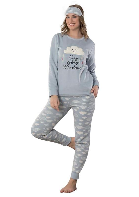 SNC - Snc Bulut Desenli Polar Pijama Takımı 7125 | Mavi