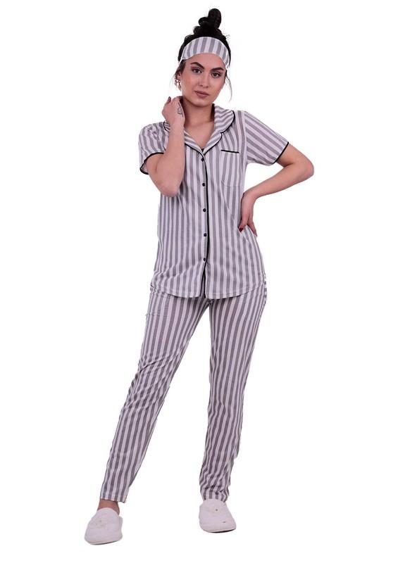 SNC - Snc Çizgili Gömlek Pijama Takımı 8002 | Gri