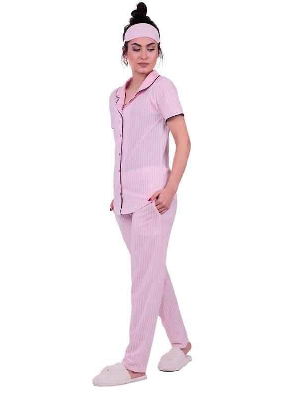 SNC - Snc Çizgili Gömlek Pijama Takımı 8002 | Pembe