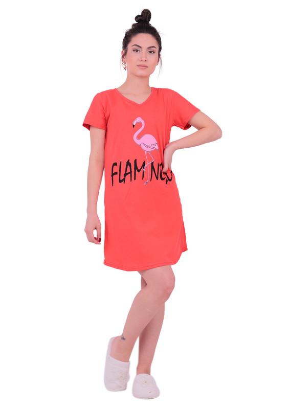 SNC - Snc Flamingo Desenli Kısa Kollu Gecelik 8041 | Kırmızı