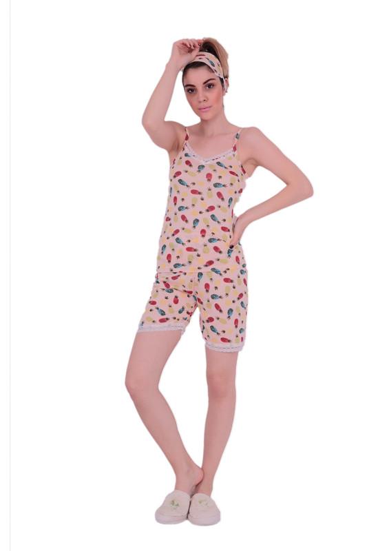 SNC - Snc İp Askılı Desenli Şortlu Güpür Detaylı Pijama Takımı 6041 | Bej