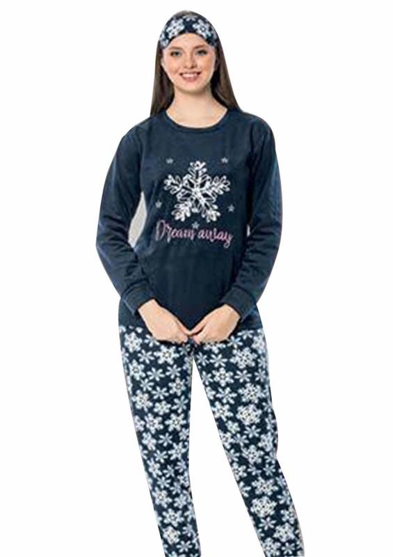 SNC - Snc Kar Tanesi Desenli Polar Pijama Takımı 7129 | Lacivert