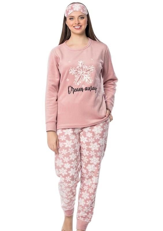 SNC - Snc Kar Tanesi Desenli Polar Pijama Takımı 7129 | Pembe