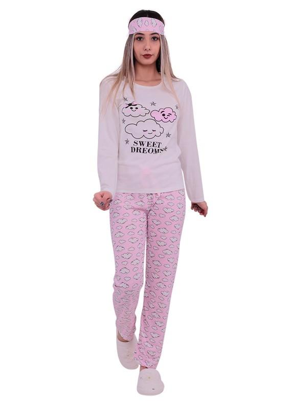 STİL - Stil Bulut Desenli Uyku Gözlüklü Pijama Takımı 7588 | Beyaz