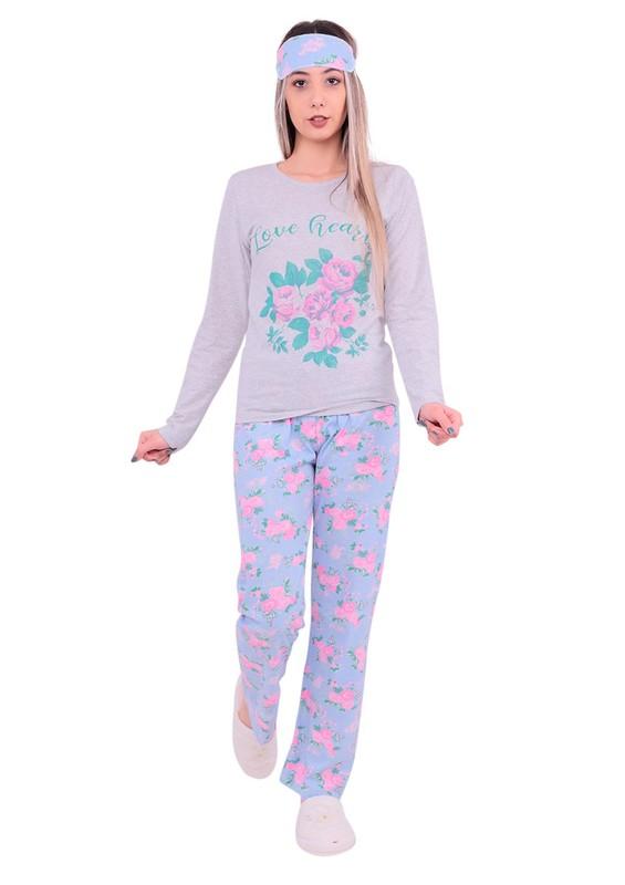 STİL - Stil Çiçek Desenli Uyku Gözlüklü Pijama Takımı 362 | Pembe