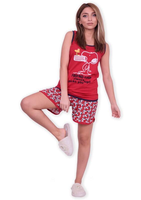 SUDE - Sude Askılı Desenli Şortlu Kırmızı Pijama Takımı 2814 | Kırmızı