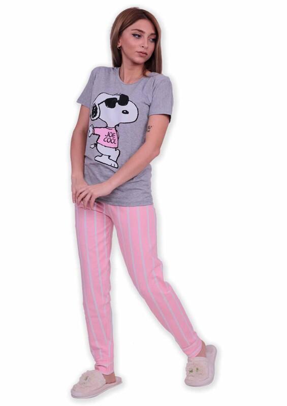 SUDE - Sude Baskılı Kısa Kollu Pijama Takımı | Gri