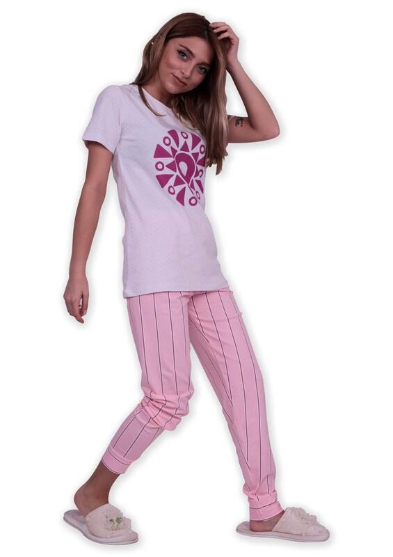 SUDE - Sude Geometrik Baskılı Kısa Kollu Pijama Takımı | Beyaz