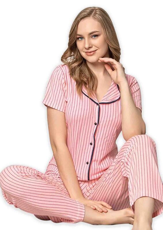 SUDE - Sude Kısa Kollu Gömlek Kadın Pijama Takımı 2021 | Pembe