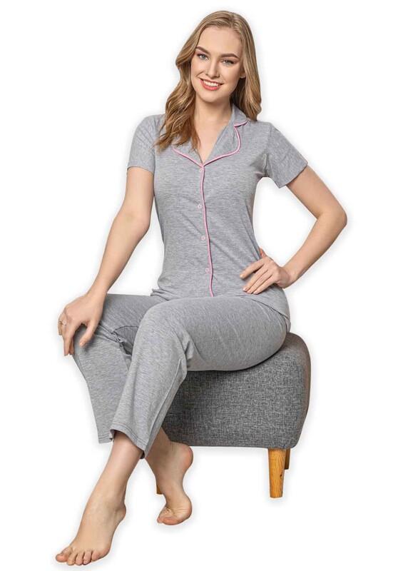 SUDE - Sude Kısa Kollu Gömlek Kadın Pijama Takımı 2023 | Gri