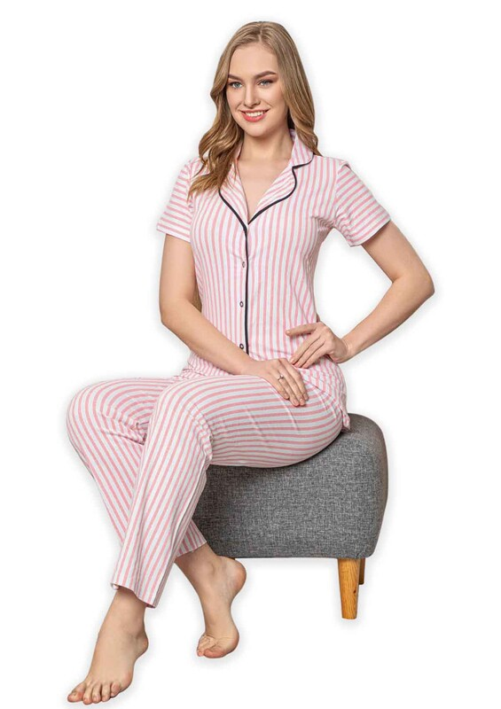 SUDE - Sude Kısa Kollu Gömlek Kadın Pijama Takımı 2024 | Pembe