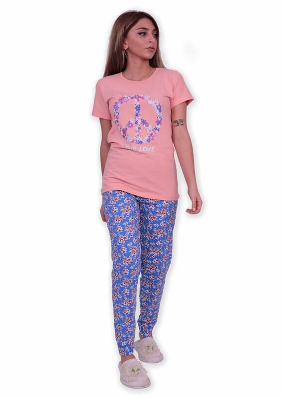 SUDE - Sude Peace Baskılı Kısa Kollu Pijama Takımı | Yavru Ağzı