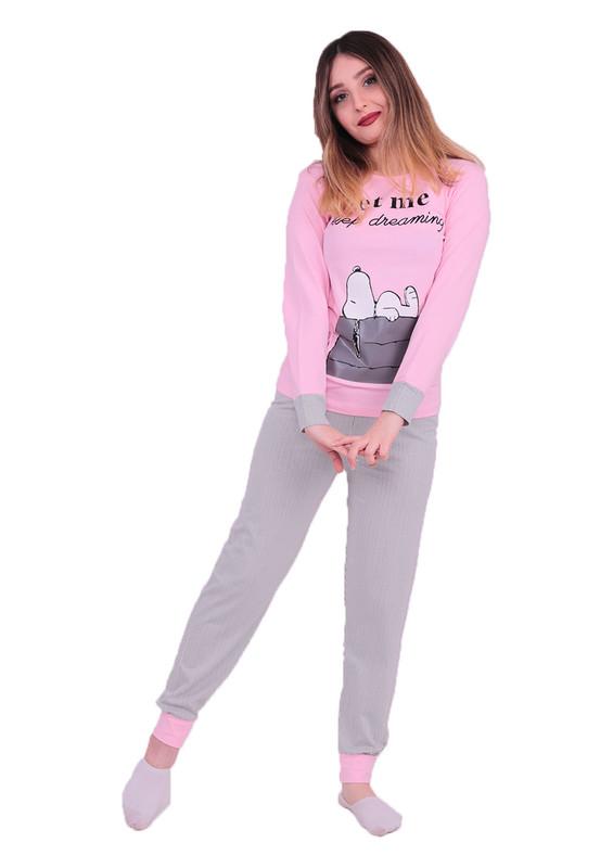 SUDE - Sude Snopy Baskılı Uzun Kollu Pijama Takımı 3098 | Pembe