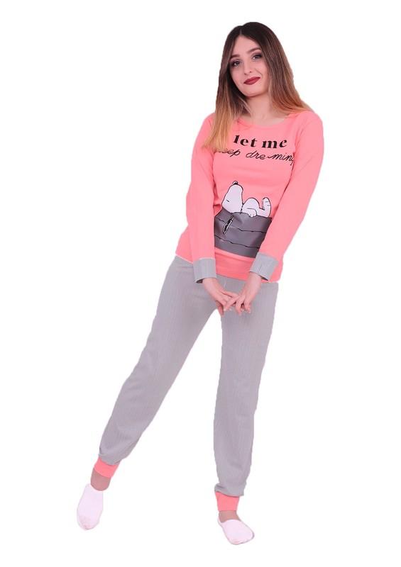 SUDE - Sude Snopy Baskılı Uzun Kollu Pijama Takımı 3098 | Pudra