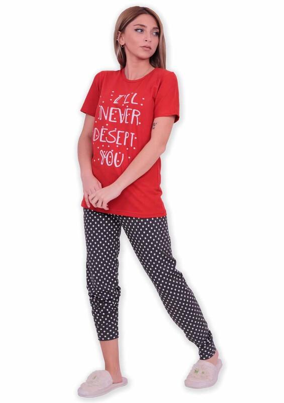 SUDE - Sude Yazı Baskılı Kısa Kollu Pijama Takımı | Kırmızı