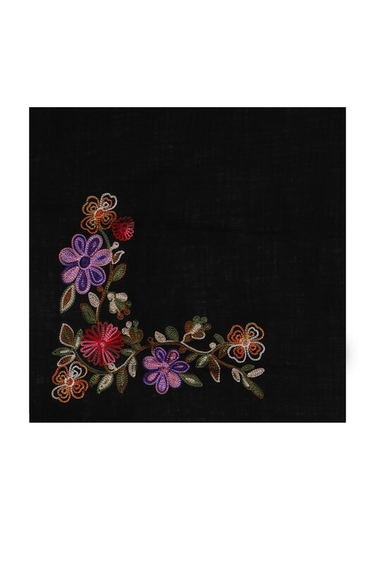 TAC MAHAL - Tac Mahal Nakış İşlemeli Pamuklu Eşarp 100 cm 002 | Siyah