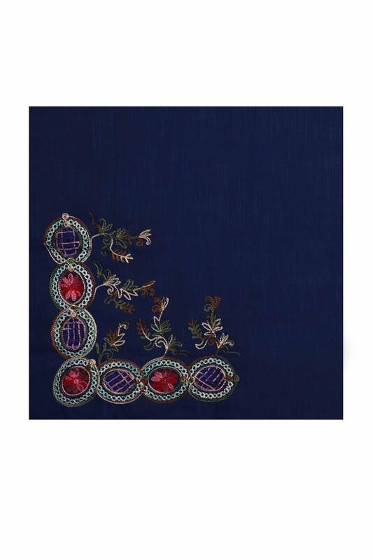 TAC MAHAL - Tac Mahal Nakış İşlemeli Pamuklu Eşarp 100 cm | Lacivert