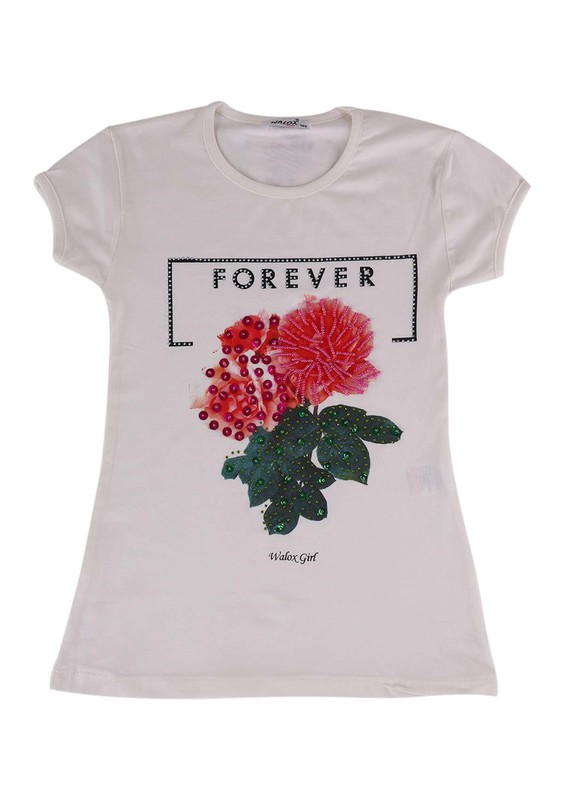 WALOX - Taş Süslemeli Çocuk T-Shirt 4008 | Krem